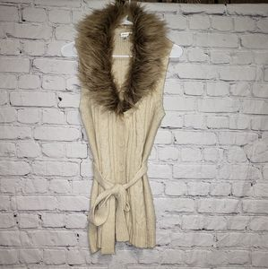Croft & Barrow Faux Fur Sweater Vest